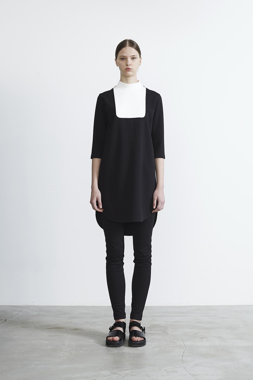 R2017 DOUBLE CLOTH BOTTLE NECK DRESS
