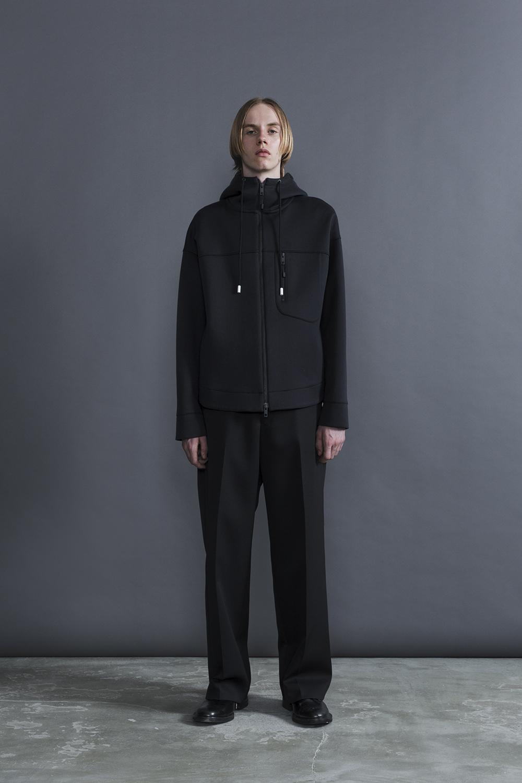 RERACS DOUBLE CLOTH HOODED(BLACK*BLACK)